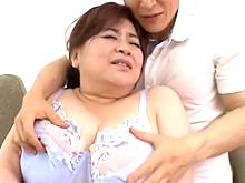 婿に襲われた姑は巨乳を揉みしだかれただけで股を開いてしまう